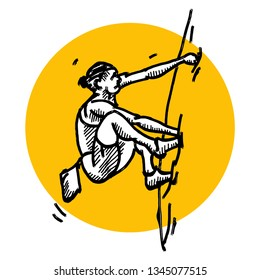 A woman rock climber clinging to a rock surface. Hand drawn vector illustration.