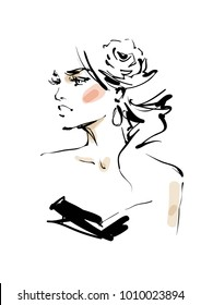 Woman with a rose in hair. fashion sketch illustration