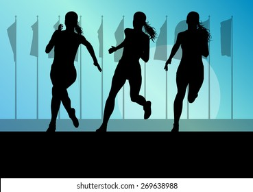 Woman runner female sprinter group vector background concept