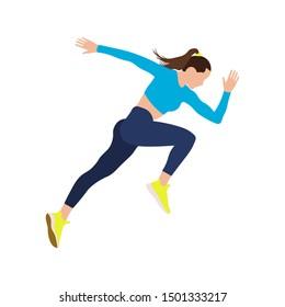 Woman runner sprinter explosive start in running.