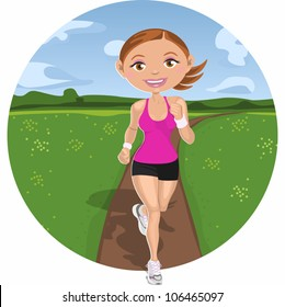 Woman running across the field