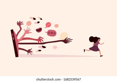 A woman is running away from profanity and sexual harassment. Cyberbulling illustration.