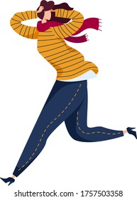 Woman running from danger, physical harassment bullying, female character fleeing threat life isolated on white, cartoon vector illustration. Person panic attack, girl hysterics poor emotional state.