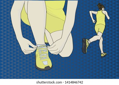 Woman with running equipment over abstract background