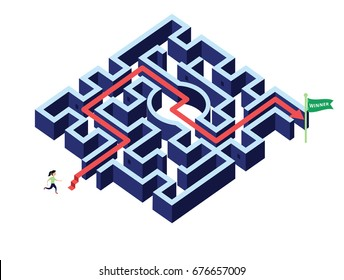 Woman running follow arrow direction  in maze / labyrinth