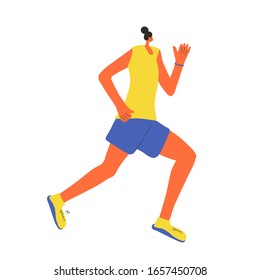 Woman running. Girl in fashionable sportwear jogging isolated on white background. Female athlete. Sporty person. Vector flat color illustration.