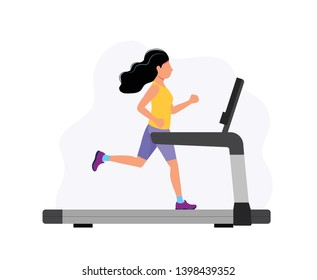 Woman running on the treadmill, concept illustration for sport, exercising, healthy lifestyle, cardio activity. Vector illustration in cartoon style