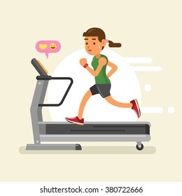 a woman running on a treadmill. vector illustration