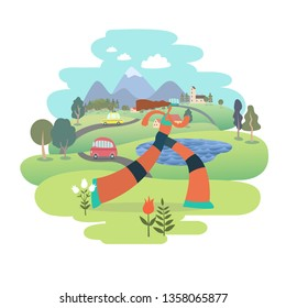 a woman running in the park -flat vector concept illustration  Healthy activity. Park, trees, hills and a lake landscape