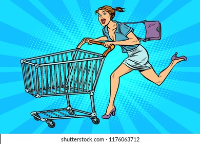 Woman running with shopping cart. Pop art retro vector illustration vintage kitsch