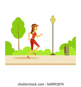 Woman Running In Sportive Clothes On The Street, Part Of People In The Park Activities Series