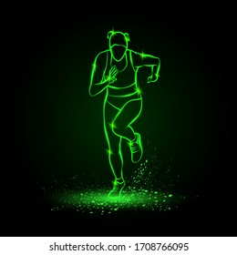Woman runs, front view. Vector green neon illustration of running girl in the dark.