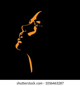 Woman s face silhouette in backlight. Vector. Illustration.
