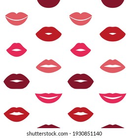 Woman s lips pattern. Seamless kissed mouth cartoon trendy texture. Vector fashion art wallpaper