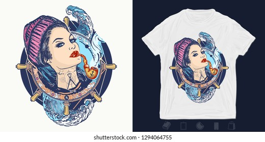 Woman sailor. Print for t-shirts and another, trendy apparel design. Pin-up style. Girl in the seaman's suit