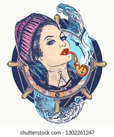 Woman sailor tattoo and t-shirt design. Pin-up style. Girl in the seaman's suit
