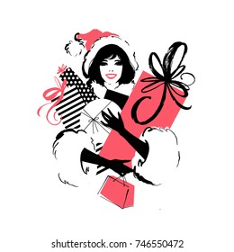 Woman in Santa's hat, cap, smiling, with lots of gift boxes Vector illustration isolated on background. Modern fashion hand drawn illustration, perfect for Christmas and New Year design.