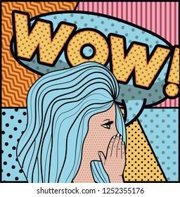 woman saying wow pop art style