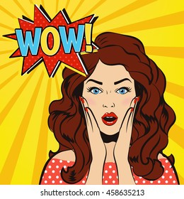 Woman says Wow! Wow face. Surprised woman. Pop art girl. Wow emotion. Comic woman. Wow concept illustration. Shocked woman with open mouth. Surprised face. Panic stress comic girl. Wow speech bubble.