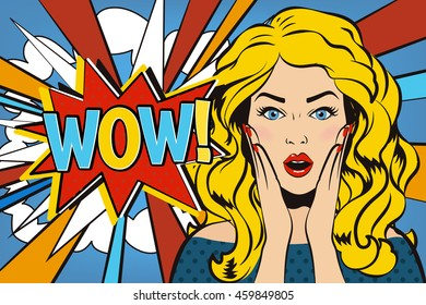 Woman says Wow! Wow woman. Surprised woman. Pop art girl. Wow emotion. Comic woman. Wow concept illustration. Shocked woman with open mouth. Surprised face. Panic stress comic girl. Wow speech bubble.