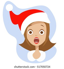 Woman scary face open mouth in Santa red hat, vector character illustration. Emotion expression girl, emoticon crazy, horror, stress, shock. Stress Christmas avatar.