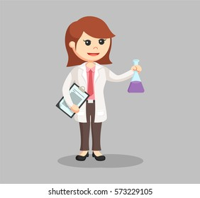 woman scientist with clipboard and test tube