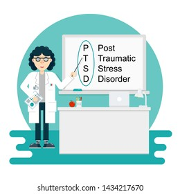 Woman scientist psychologist lecturer tells about PTSD - post traumatic stress disorder in classroom, auditorium in college, university. Flat vector illustration.