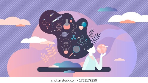 Woman scientist vector illustration. Professional flat tiny persons concept. Female career occupation as experimental physician or chemistry worker. Researcher in uniform and pharmacy job employee.