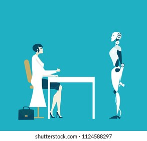 Woman scientists in white coat talking with robot, her creation