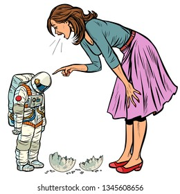 Woman scolds astronaut. The guilty destroyed moon. isolate on white background Pop art retro vector illustration vintage kitsch