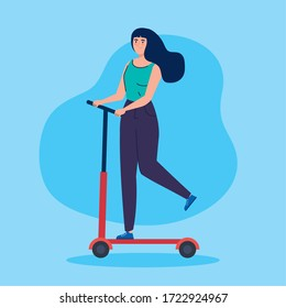 woman in scooter avatar character vector illustration design