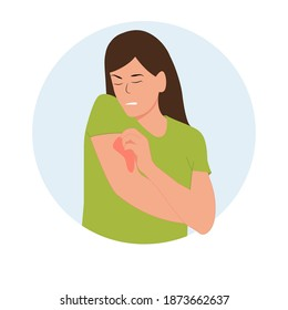 Woman scratches her hand. Local itching on the arm, allergic itching, inflammation of the skin, redness and irritation.Atopic dermatitis, eczema, dry skin.Concept, isolated, vector