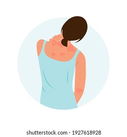 The woman is scratching her back. Allergic itching, skin inflammation, redness and irritation. Atopic dermatitis, eczema, psoriasis, dry skin. Skin problems Concept, isolated, vector.