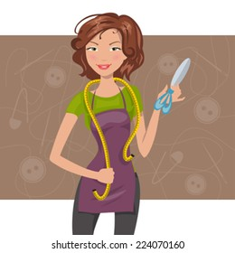 woman seamstress with scissors and meter. Dressmaker