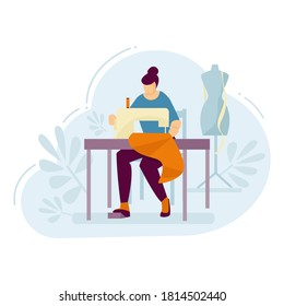 Woman seamstress works on a sewing machine. Vector illustration.