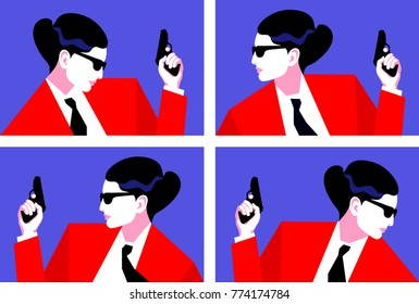 Woman as secret agent, spy, security guard. Set of female characters in profile with a gun. Vector illustration
