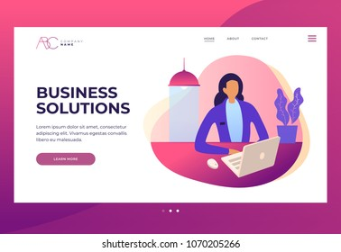 Woman secretary or company worker sitting at table and working on laptop looking at screen. Design template for Landing Page. Header for website and mobile website. Colorful flat vector illustration.