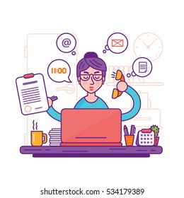 Woman secretary or female personal assistant vector illustration. Young office manager or businesswoman multi-tasking. Business lady or company worker.