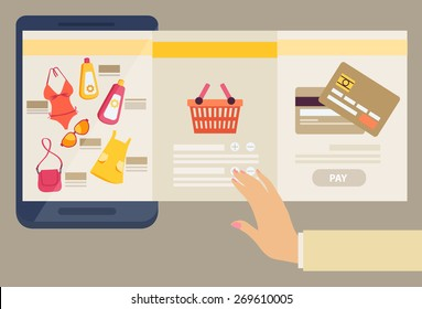 Woman selecting clothes to purchase online with three screens showing the selection of merchandise available, a shopping basket and payment by credit card in an e-commerce concept, vector illustration