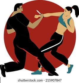 Woman self defense practice