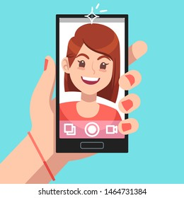 Woman selfie. Beautiful girl taking self photo face portrait on smartphone. Phone camera addiction cartoon vector cute young women holding cellphone concept