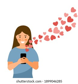 Woman sending love message via smartphone with flying hearts. Online dating app. Love chat with boyfriend.