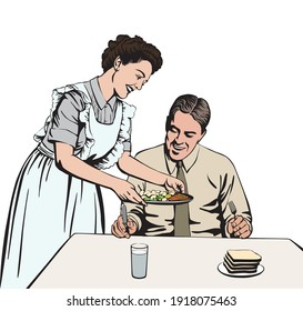 The woman is serving lunch to the man. Retro style