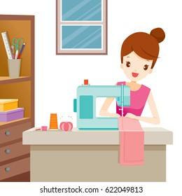 Woman Sewing Clothes By Sewing Machine, Needlework, Tailor, Handmade, Dressmaking, Hobby, Profession, Occupation