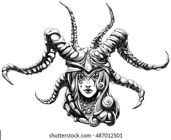 woman shaman wearing a helmet with horns