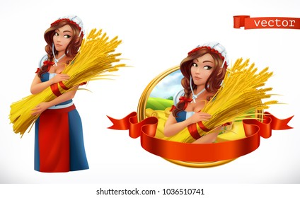 Woman with a sheaf of wheat. Peasant, farmer character and label. 3d vector icon