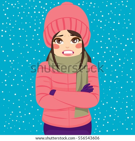 woman shivering cold winter outdoors wearing のベクター画像素材