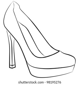 woman shoe - freehand on a white background, vector illustration