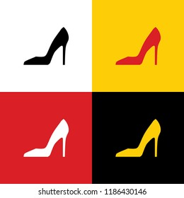 Woman shoe sign. Vector. Icons of german flag on corresponding colors as background.