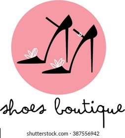Woman Shoes boutique logotype. Glamour Fashion High heels shop icon.